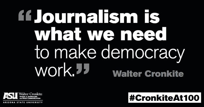 Quote of the day for #CronkiteAt100. Cronkite's birthday is in 99 days. https://t.co/3I1iIKCPWK