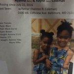 Missing Children in Baltimore: RT/Share please help bring them home. #AyannaColeman #RayneColeman #BlackLivesMatter https://t.co/yRBG6hADpQ