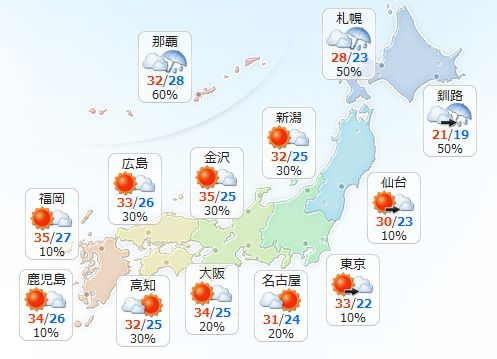 【7月30日(土)】九州から東北は大体晴れますが、午後は大気の状態が不安定で内陸や山沿いで雨や雷雨の…