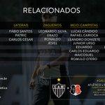 O técnico Marcelo Oliveira relacionou 23 atletas para a partida deste sábado, contra o Santa Cruz! #Galo! #GALOxSTA https://t.co/ioQWsUDZUo