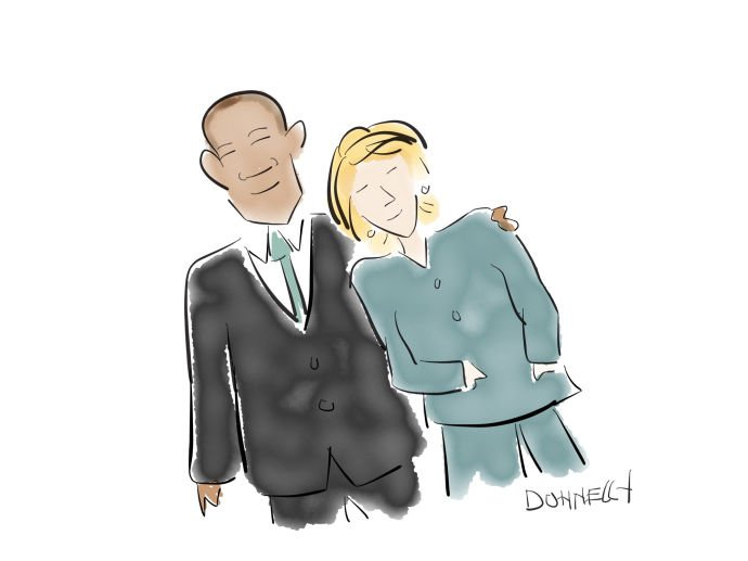 The cartoonist @LizaDonnelly live-draws the historic #DemsInPhilly