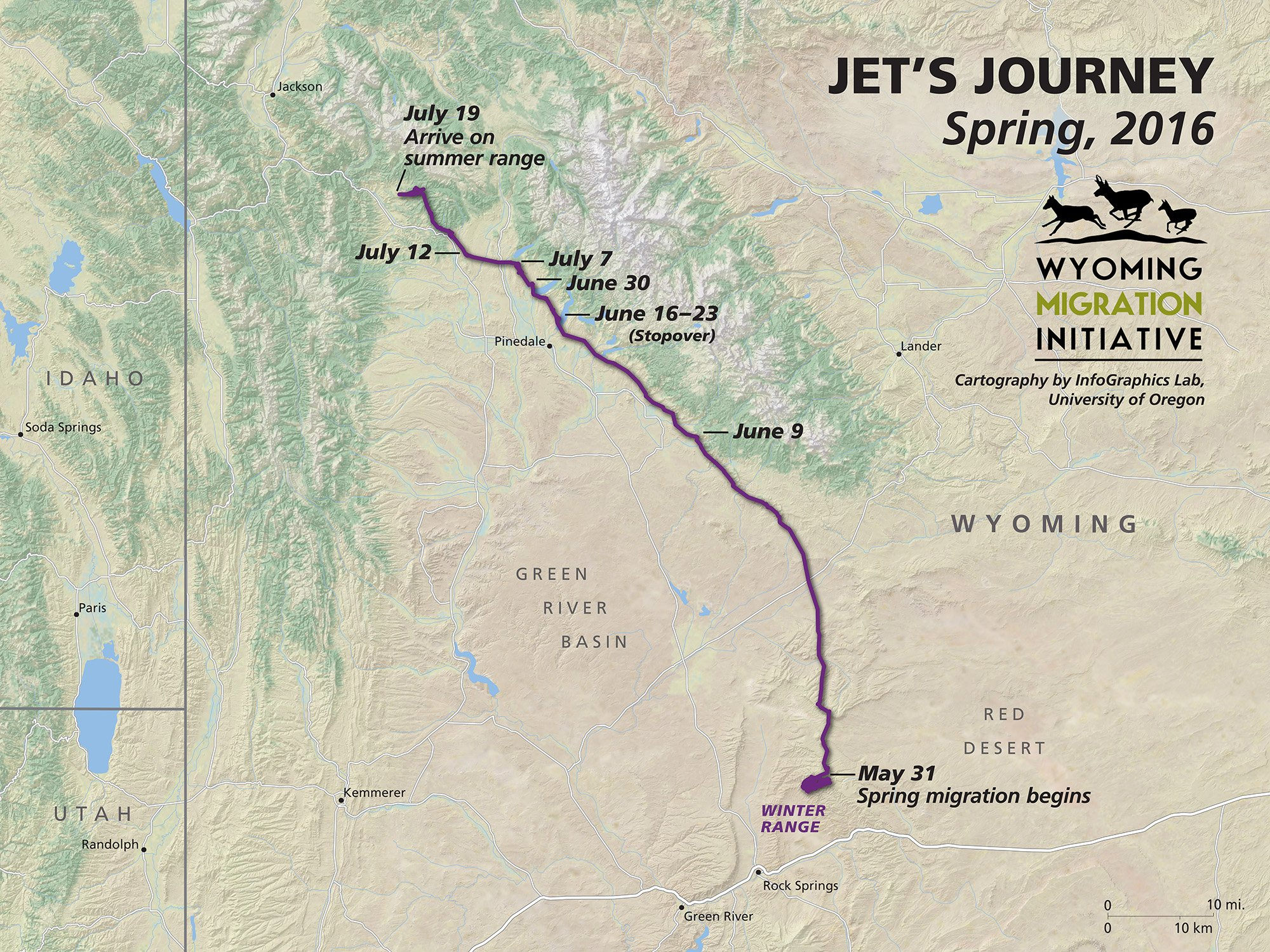 Home again. Jet, the doe #wyodeer, has completed a 7-week migration. Forage abounds in the mountains, until winter. https://t.co/wS67mNXwXm
