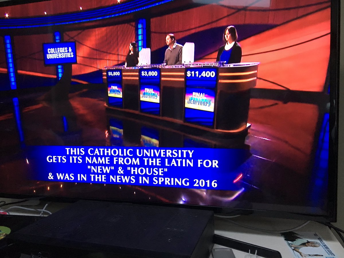 Tonight's Final Jeopardy answer was probably pretty easy for members of #NovaNation. https://t.co/UKM2wsIIIR