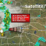 RADAR: Its likely that this line of thunderstorms will reach downtown #YEG by about 10:00 PM. #yegwx #abstorm https://t.co/Sf9zYCrQp5