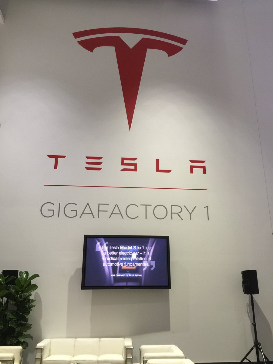 """Grand opening of """"Gigafactory 1"""". Bigger than Pentagon. Doubles world's battery production. And only the first one! https://t.co/kURlO3F1Hw"""