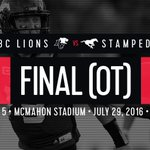 WHAT A COMEBACK!  #Stamps beat the Lions in OT as @Tommie_Campbell intercepts a Jennings pass in the endzone! https://t.co/f3PaSypD6g