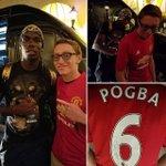 Paul Pogba signs new #MUFC home shirt (Pogba No.6) for a fan in LA https://t.co/pExEc6mqXu