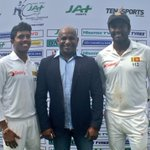 Player of the Match Kusal Mendis and skipper Angelo Mathews with 🇱🇰 legend - and happy selector - @sanath07! #SLvAUS https://t.co/ba7W5uwt7v