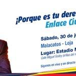 10h00. Sigue el #Enlace486 con el Vicepresidente @JorgeGlas en #Malacatos - #Loja. #EcuadorEnTusManos https://t.co/NCaxIl6LAg
