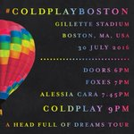 Here are the set times for tonights #ColdplayBoston show at @GilletteStadium, with @alessiacara and @iamfoxes. A https://t.co/PecrqIvqhy