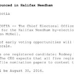 @StephenMcNeil calls by election for Halifax Needham, voting day will be August 30. @NEWS957 https://t.co/cs2MMJ3ksB