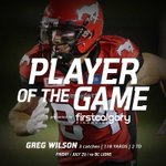 Your @FirstCalgary Player of the Game is @Greg_Wilson15 who hauled in 2 TDs in last nights electrifying win https://t.co/Tc56zWUVqv