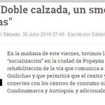 "Editorial: Doble calzada, un smoking con ""alpargatas"" https://t.co/UqWb0RsdSx  @PopayanCO @1oscarcampo @votopinion https://t.co/NtqM5Mf3FO"