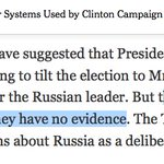 """NY Times on the Russia conspiracy its peddling: Clinton """"campaign officials acknowledge that they have no evidence"""" https://t.co/fnC7LJVS6W"""