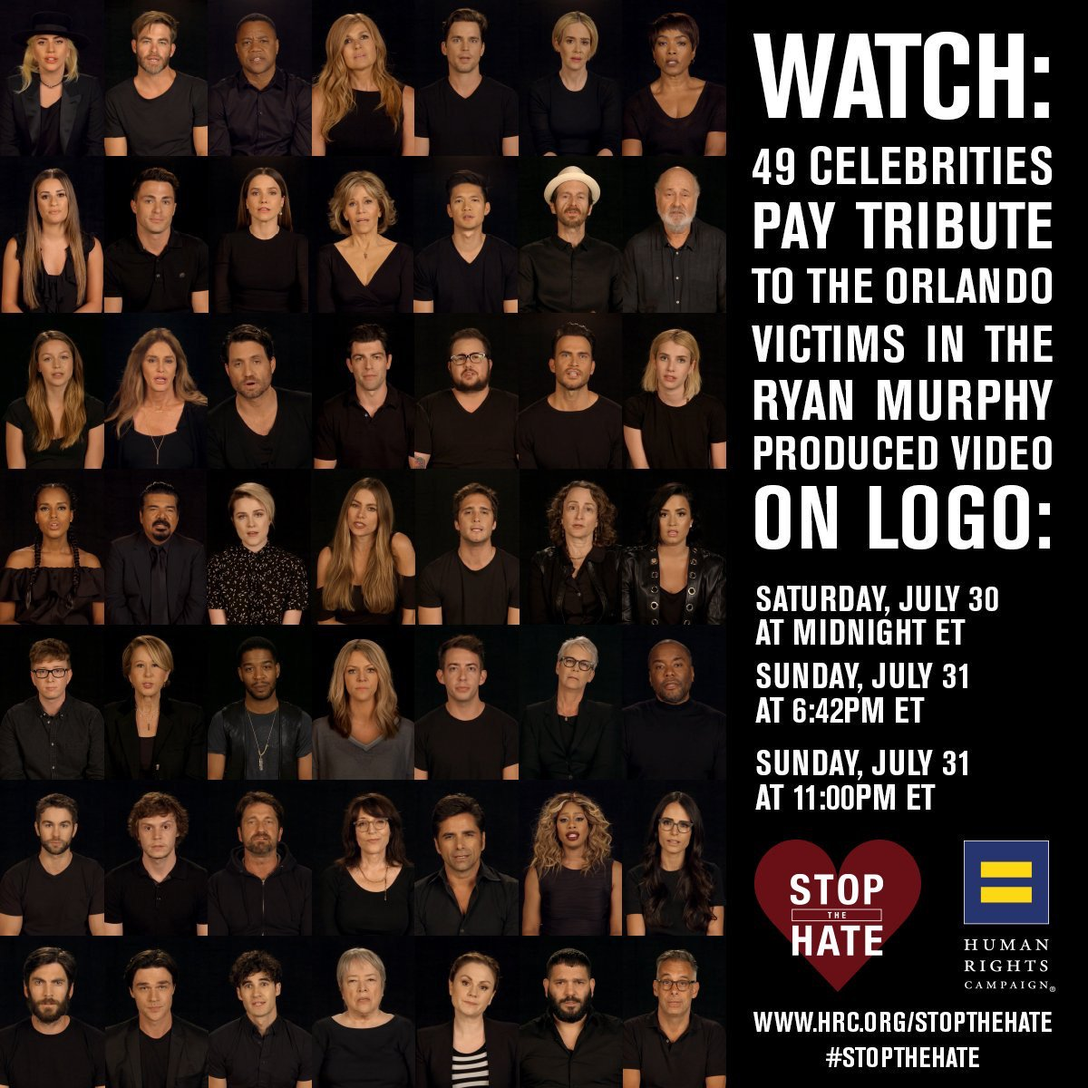Sunday marks 49 days since the Orlando shooting. @LogoTV will honor the 49 victims by airing @HRC's #StopTheHate https://t.co/kpf4Q8eAYg