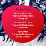 Morning all! Here are the main events at #RideLondon today.... https://t.co/c1M3xguQ7P