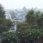 Its snowing in #Dunedin #NZ. 10:10 am Sunday, 31 July 2016 (view from Maheno St., Māori Hill). https://t.co/cvKcO0iUyn