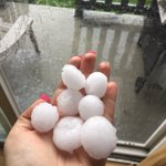 This is the hail that hit right as the storm starter and was this size for a good 15 minutes #abstorm #airdrie https://t.co/bkJpSDx5Nw