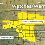 Severe TStorm WARNING extended all around #yyc. Areas outside of the WARNING under a WATCH #ABStorm https://t.co/niChktKXTY