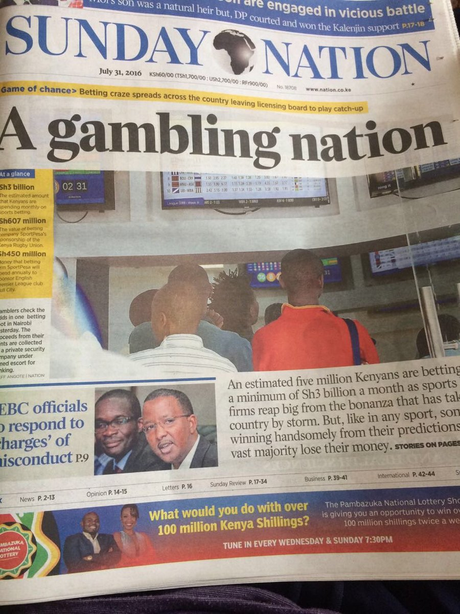 Irony is - Headline 'A Gambling Nation ' Then on the same page at the bottom, a gambling advertisement!