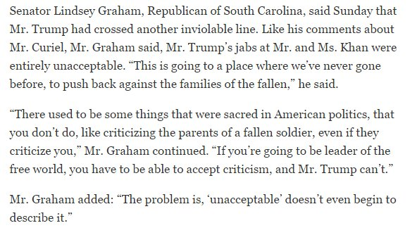 "GOP Sen Lindsey Graham to @nytimes on Trump's remarks on Khans: ""'unacceptable' doesn't even begin to describe it"" https://t.co/uhKyzCOnBs"
