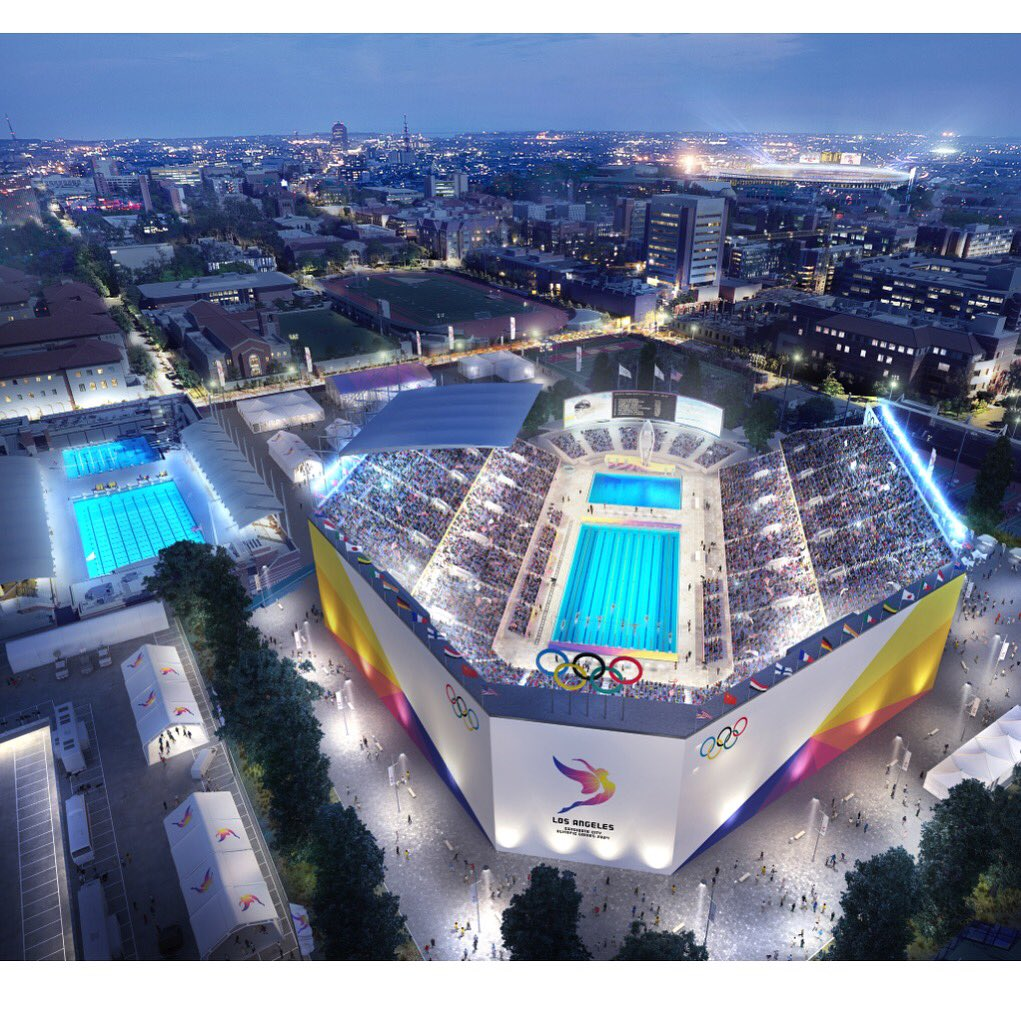 Rendering of proposed @LA2024 aquatic venue. '84 Olympic pool adjacent 4 training. 4 this I might make a comeback! https://t.co/VZDrcylM0M
