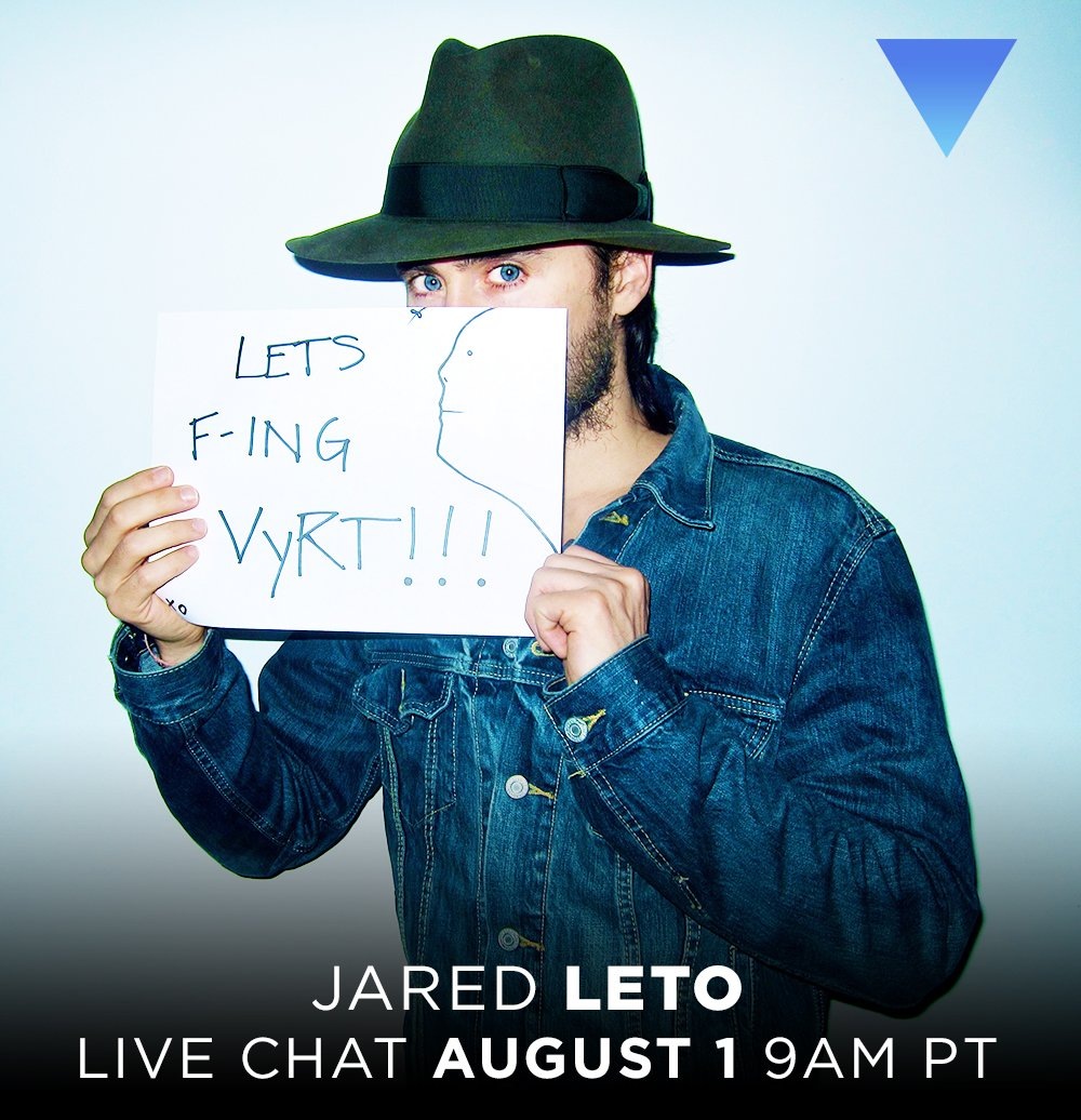 RT @VyRT: Join @JaredLeto for Live Chat TOMORROW, AUGUST 1 9AM PT / 12PM ET! — https://t.co/4VrH9PSNHj https://t.co/Fd3x9QSiqL