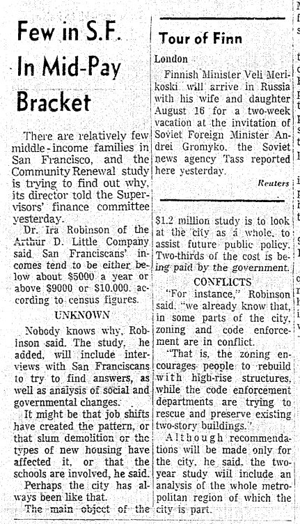 Jul 1963: SF discovers the middle class is disappearing: incomes are either high or low. https://t.co/YTHk9ldv3P