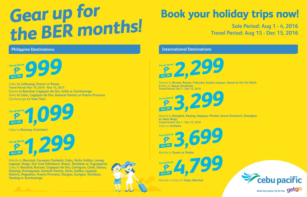 Start booking for your holiday with the new CEBSeatSale! Book now!