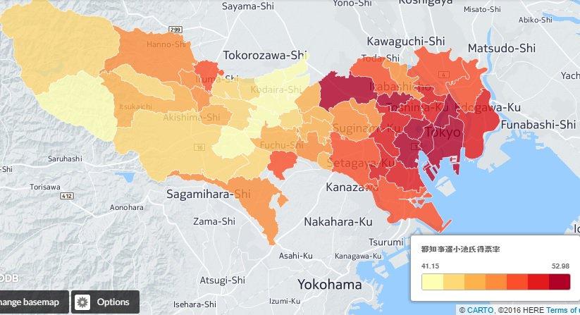 東京都知事選の得票率を地図に落としてみました。赤が濃いほど高得票率。当選した小池百合子氏は、特に都心…