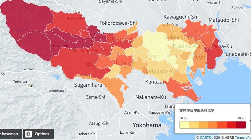 自民推薦の増田寛也氏ですが、多摩中西部と23区東部が強く、都心や湾岸が強かった参院選比例区の自民とは…