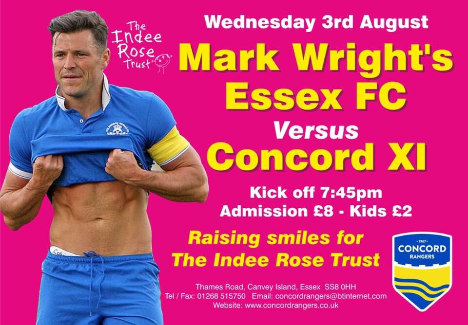 WED 3RD AUGUST: We welcome @MarkWright_'s ESSEX FC, who will take on a Concord XI to raise money for @indeerosetrust https://t.co/YQOdDHuS1v
