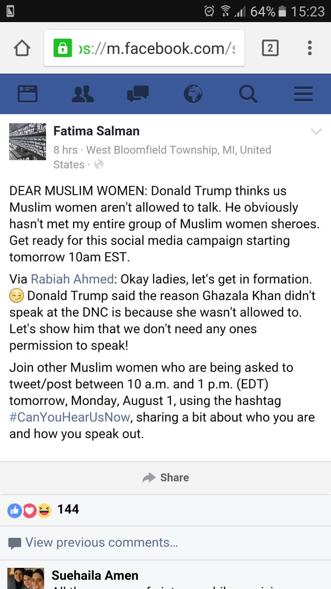 Muslim women launch campaign today on Twitter in response to #Trump comments against Khan's mom #CanYouHearUsNow https://t.co/ZAhqHsBi1T