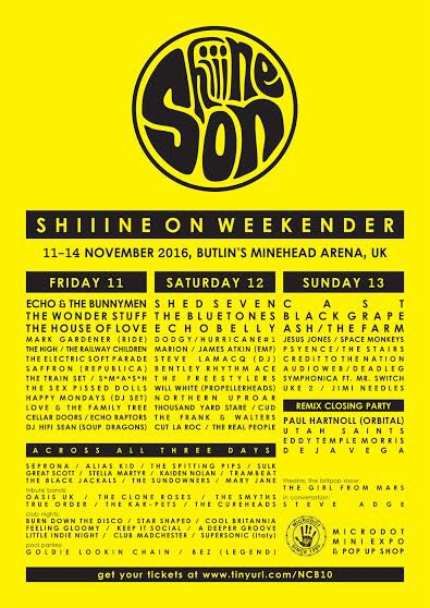 Final line up announced for @ShiiineOn_ https://t.co/MKNxJ5Xzgp