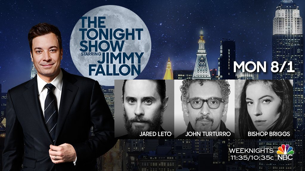 RT @FallonTonight: TONIGHT: @JaredLeto, @JohnMTurturro, music from @thatgirlbishop & @leslieodomjr sits in w/ @theroots! #FallonTonight htt…