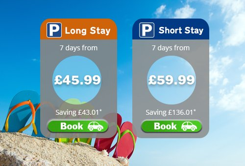 Late escape? Get 7 days' parking from £45.99, saving £43.01 on gate rate when you pre-book: