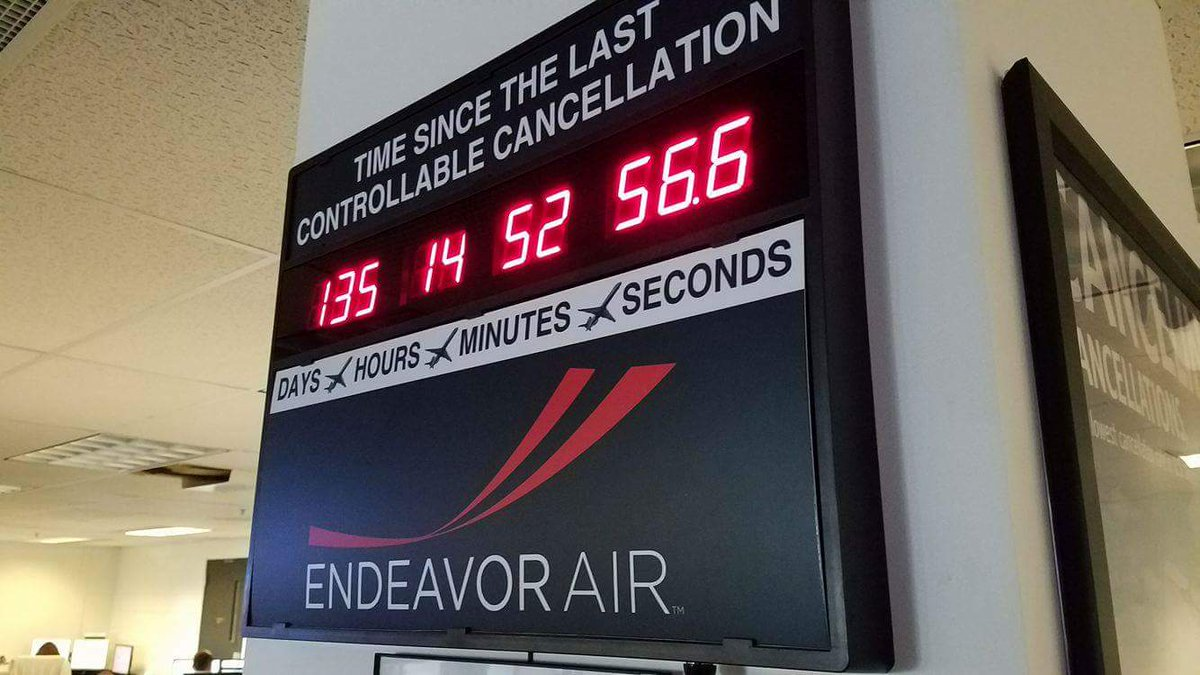 .@EndeavorAir shatters record: 135days, 14hrs and 54mins w/o a maintenance cancellation!