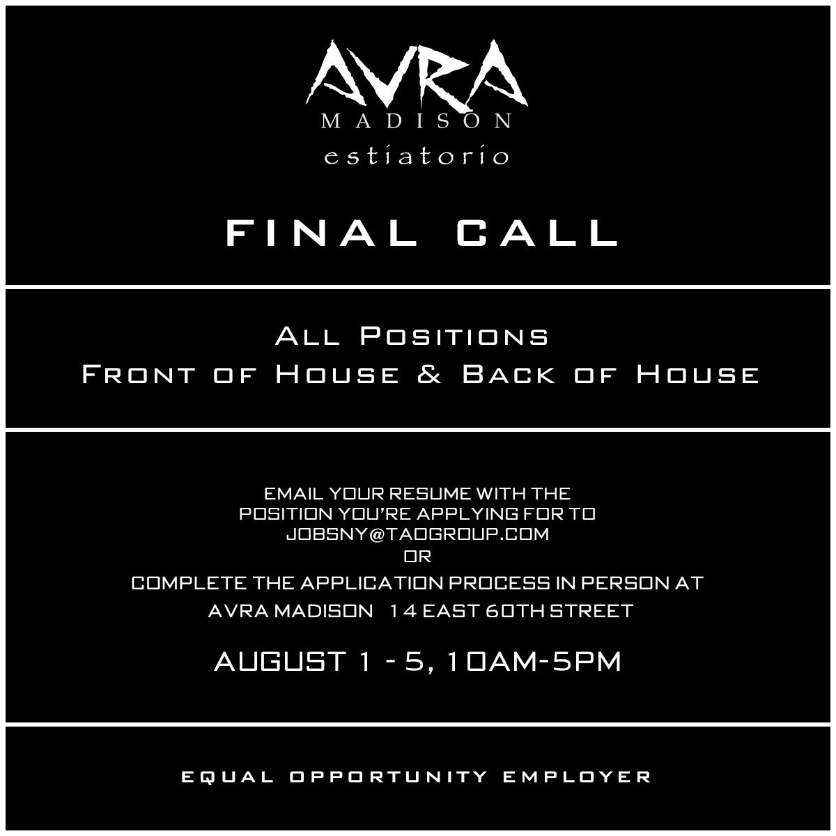Final call to join @TAOGroup for the opening of @Avranyc Madison! All positions welcome! https://t.co/xBHYtBjdaG