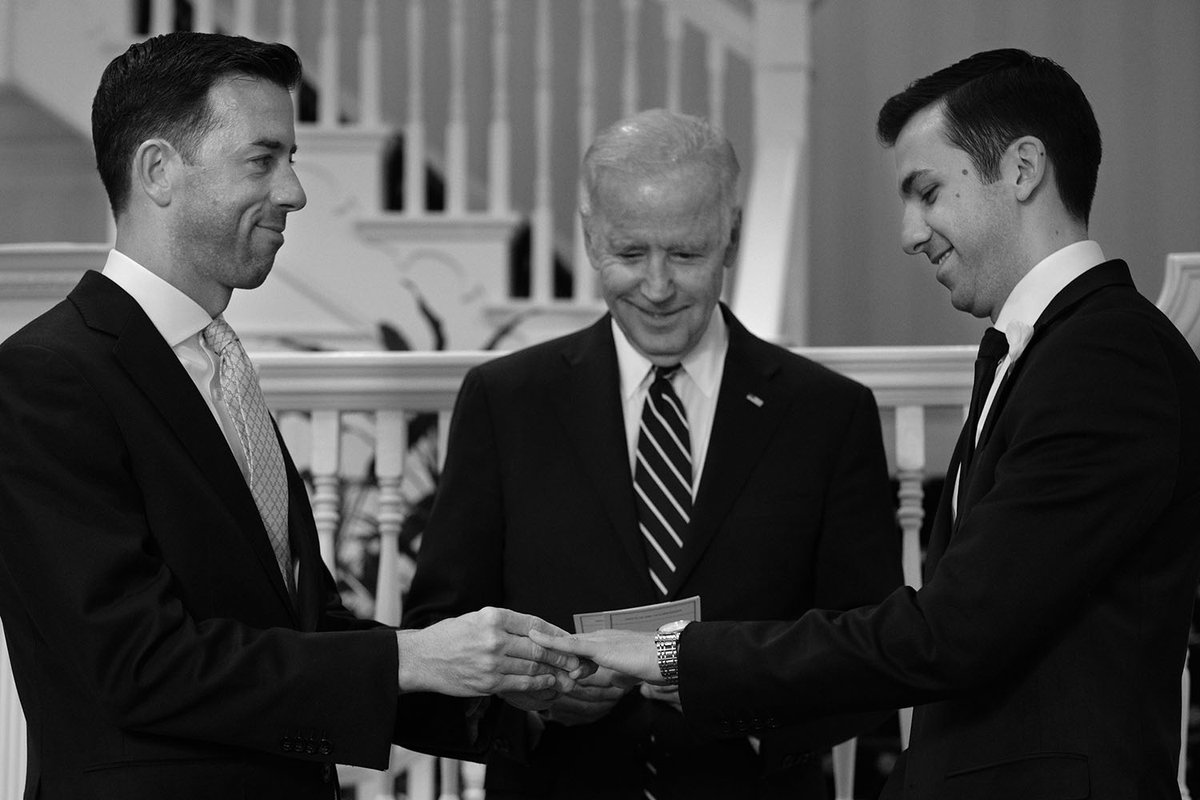 Proud to marry Brian and Joe at my house. Couldn't be happier, two longtime White House staffers, two great guys. https://t.co/0om1PT7bKh
