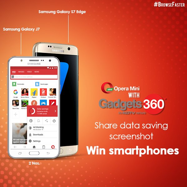 Here we go! Take part in our #BrowseFaster #contest with @Gadgets360 & win a Samsung phone! https://t.co/EVVwgeR1dW https://t.co/2UtKCQzTBV