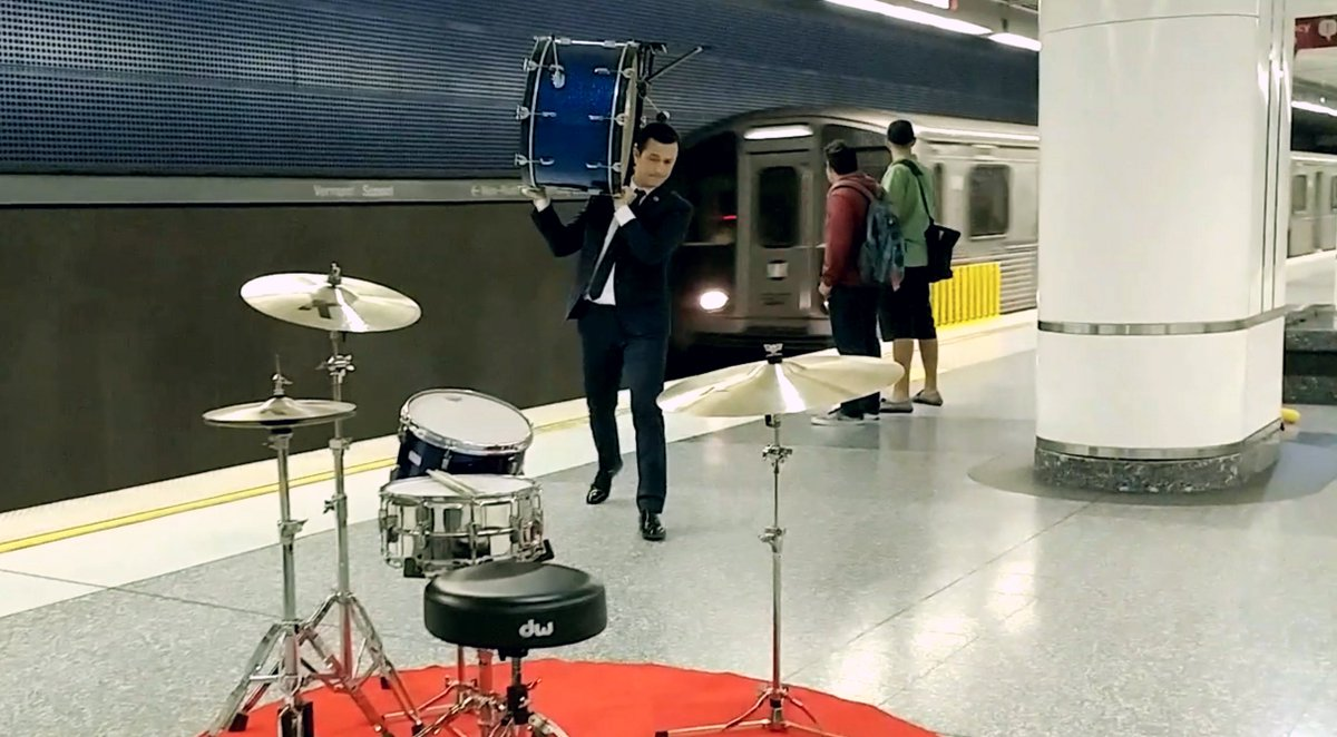 I asked you guys to play music in public. For my part I played drums in a subway. https://t.co/DVt3Jsixh7 #LGxHR https://t.co/rxXf8Jzg6g