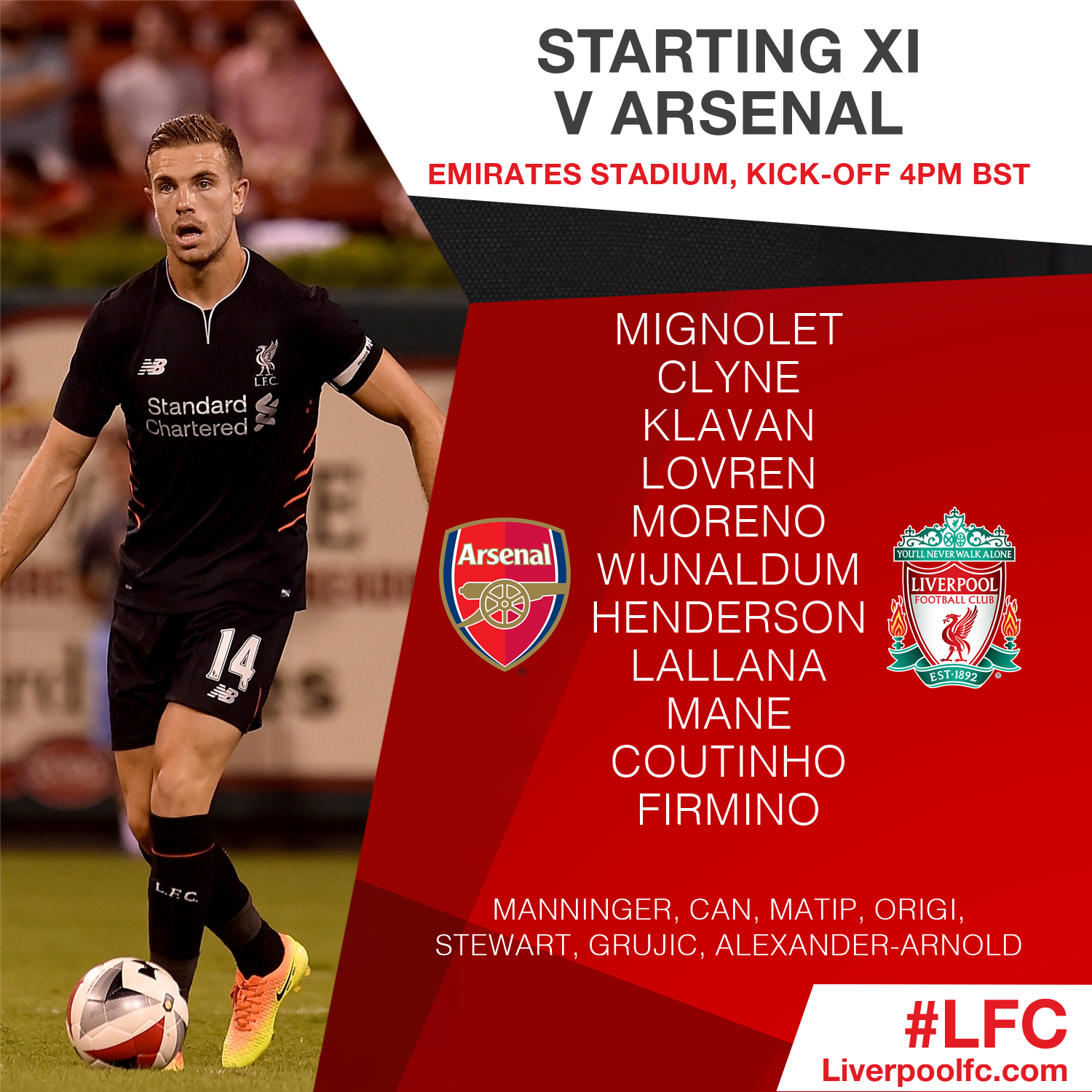 The #LFC squad for today's meeting with @Arsenal in full #AFCvLFC https://t.co/Nk9gsnPwuy