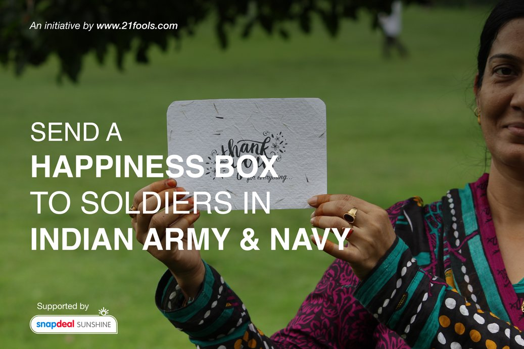 An initiative by https://t.co/LdCM5MuuDU to make our soldiers smile. Hope you will support & spread the word :) https://t.co/Inni4Gc9jy