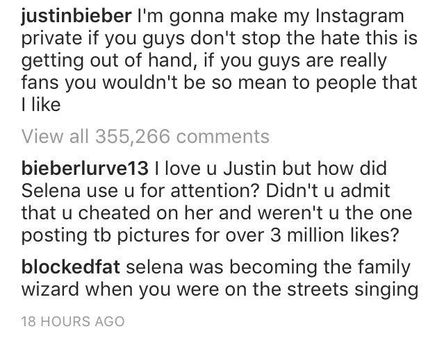 """Selena was becoming the family wizard when you were on the streets singing"" daaaaaamn. #SelenaEndingJustinParty https://t.co/wtVl6XKRGD"