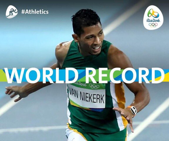 The fastest man ever over 400 m now is  @WaydeDreamer ! And he is from South Africa #proudlysa #RioOlympics2016 # https://t.co/gWuy4DOuGc