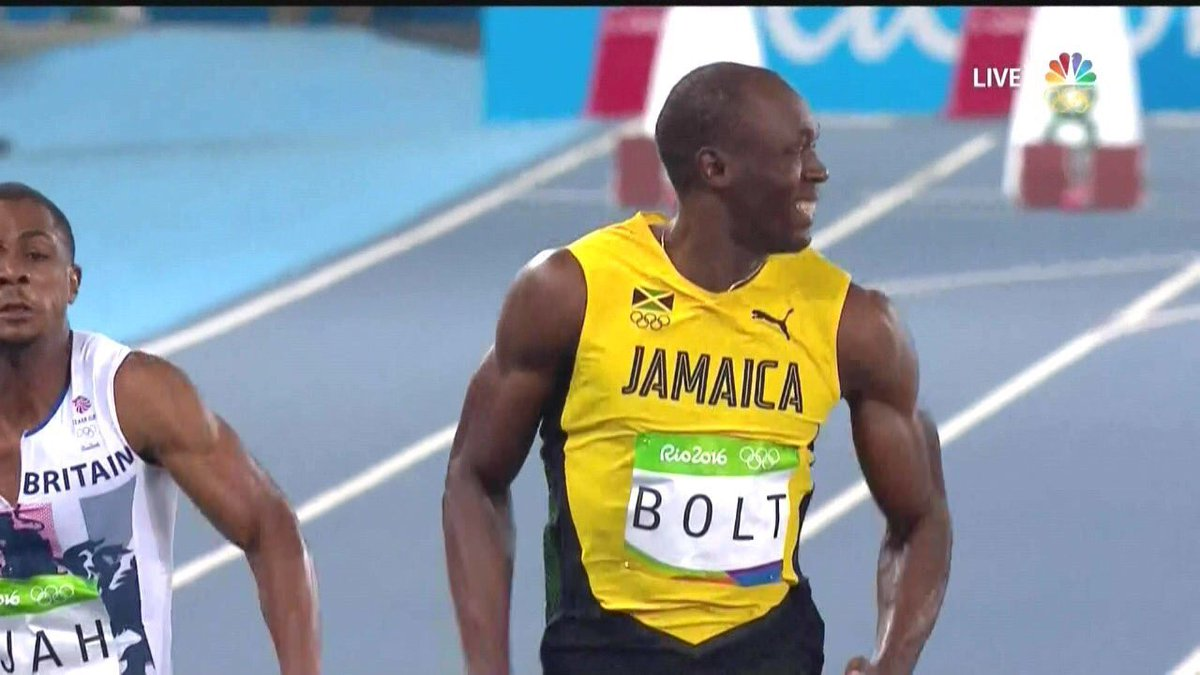 This is just so disrespectful. My dude is running his heart out straining & everything. Meanwhile Bolt smiling