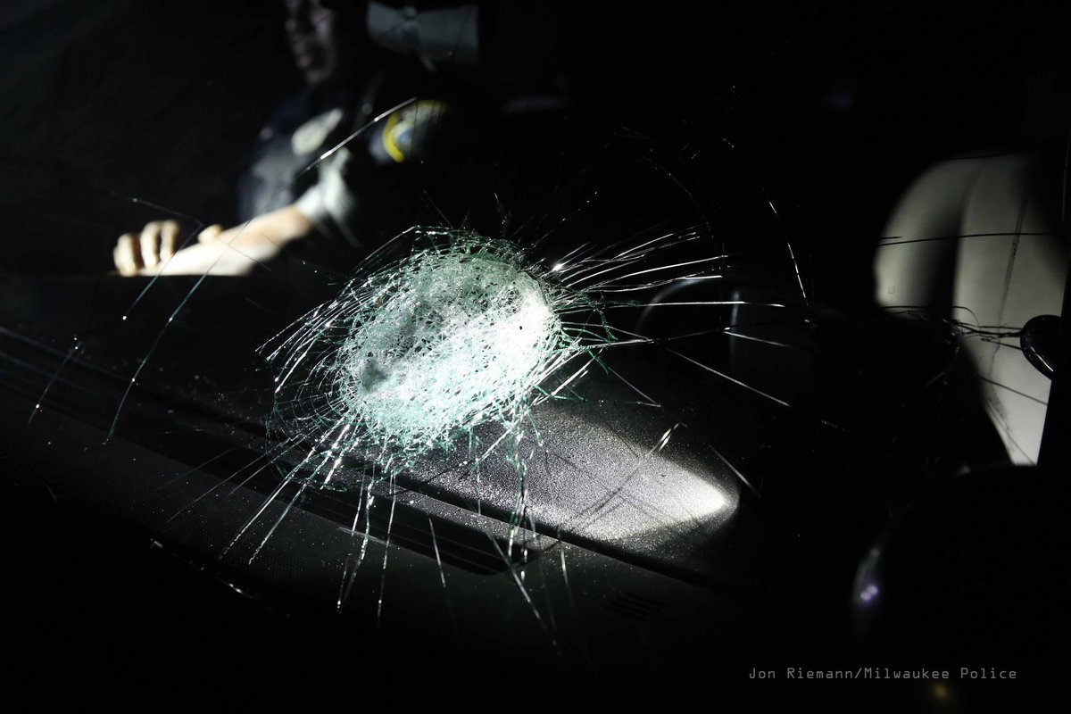 Officer taken to hospital for injury after thrown rock breaks windshield of squad near Sherman & Burleigh. https://t.co/At5HDBOXHm