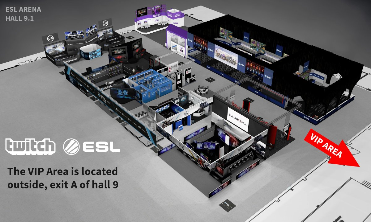 Gamescom is almost there! Looking for the @Twitch and @ESL VIP area? You can find it outside Hall 9. See you there! https://t.co/tP6RmO0ibT