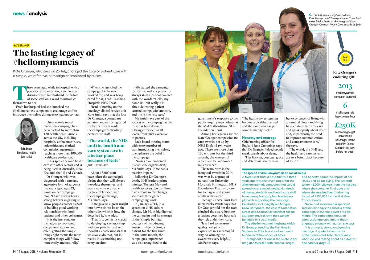 Kate Granger didn't just inspire doctors, but nurses too. Read nurses pay tribute to her #hellomynameis legacy https://t.co/ayD058MXco