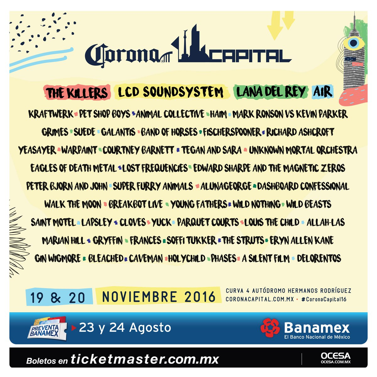 Stoked to announce we're playing @coronacapital Music Festival in Mexico! Tix on sale 8/25 https://t.co/1iHqbGinpt https://t.co/a4SPtsesyM